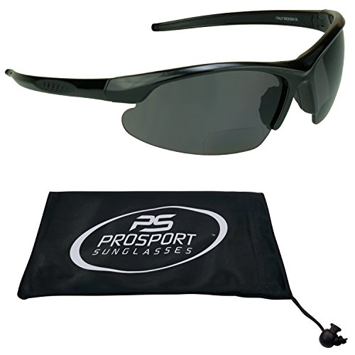 Polarized Bifocal Sunglasses 2.5 with premium 2mm TAC Polarized lenses and Sporty wraparound Half Frame. Free Microfiber Cleaning Case Included.