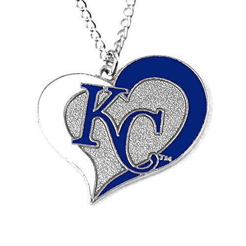 (Kansas City Royals Swirl Heart Necklace )