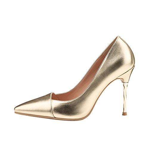 Luminosa Metallo Tacco Base D'oro Tacon Partito Mujer Argento Di Zapatos Alti Tacchi Scarpe Pompe Sottile Bacchette t7YSwS