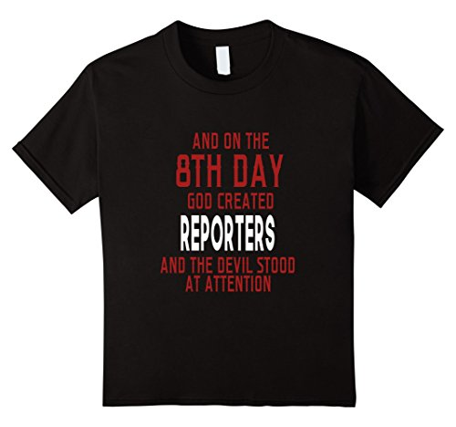 Kids Funny On The 8th Day God Created Reporters T-shirt Saying 12 Black