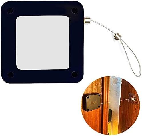 Cierrapuertas con sensor autom/ático sin perforaciones de 2 piezas Cierrapuertas ultra silencioso y anti-pellizcos con cable telesc/ópico para todas las puertas F/ácil de instalar