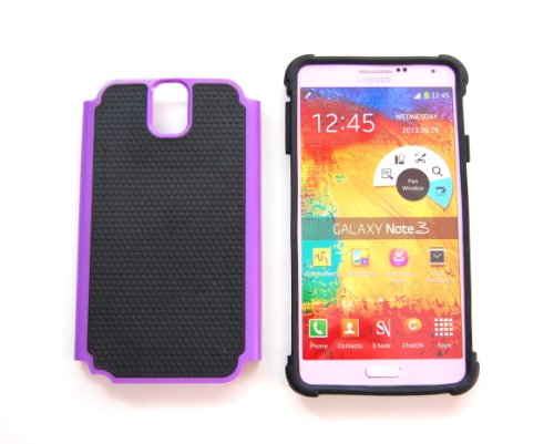 TCD for Samsung Galaxy NOTE 3 [PURPLE] Executive Armor Defender Series [HIGH IMPACT] Multi Layer [Hard/Soft Combo] TPU & Hard Plastic Shock Absorbant Case with [FREE SCREEN PROTECTOR & STYLUS PEN]