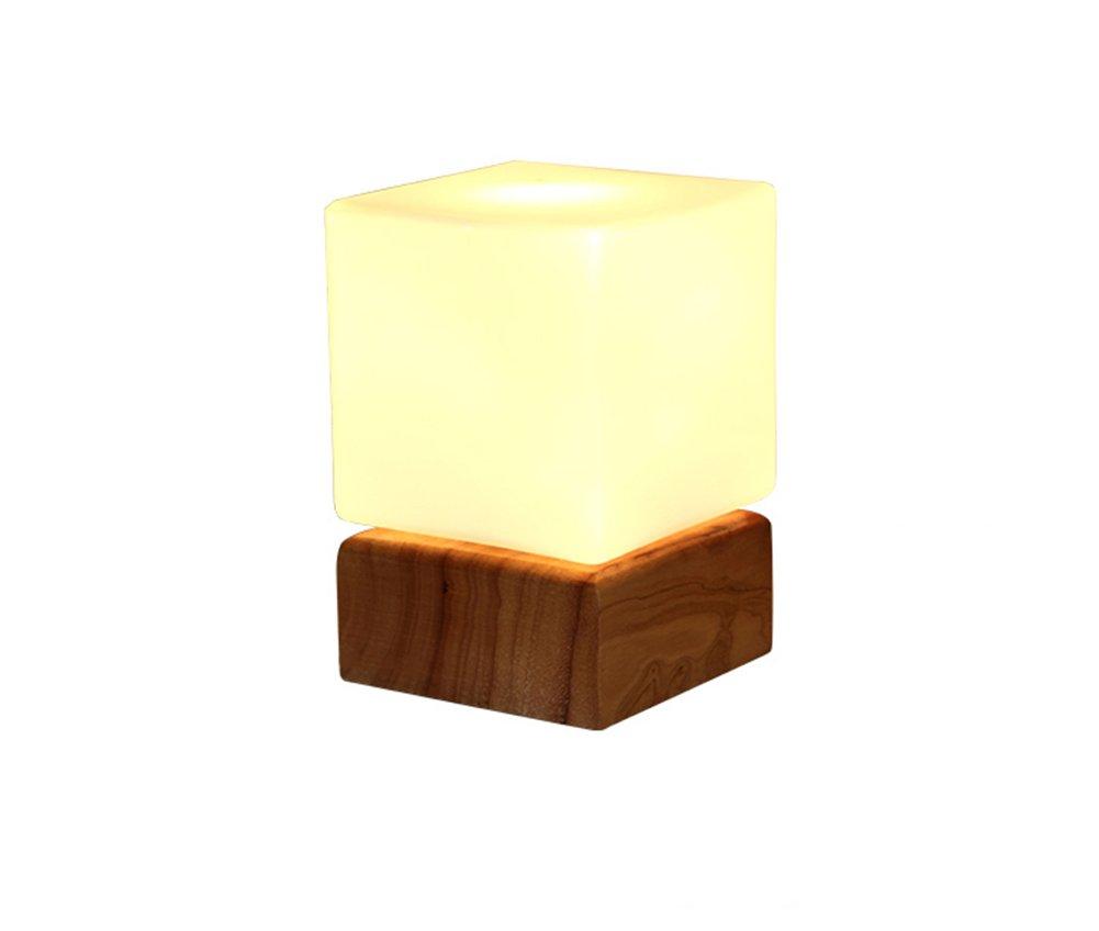 Holz Tischlampe, Schlafzimmer Nachttischlampe Einfache Wohnzimmer Studie Kinder Augenschutz LED dekorative Lichter E27  1 Holz Farbe + Milch weiß Power Switch Button Energie sparen
