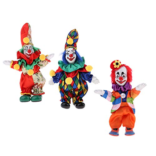 CUTICATE 7inch Funny Clown Porcelain Joker Doll 3pcs, Valentin Gift for Him or Girlfriend, Halloween Decoration Home Table Desk Top Ornaments