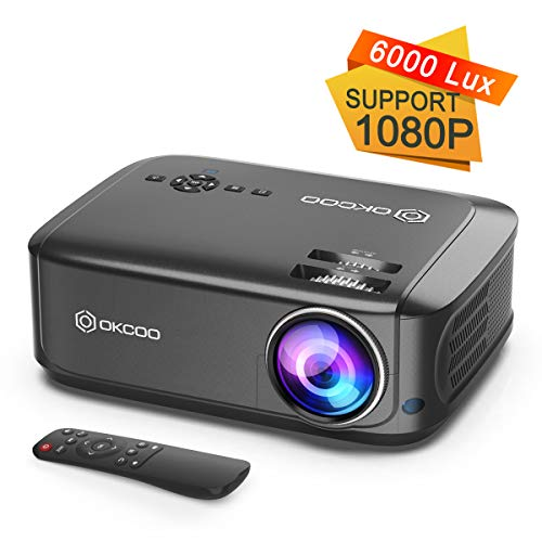"OKCOO Video Projector, Full HD 1080P 6000 lux 200"" Display Home Theater Business Office Overhead Projector for Presentation Compatible with PC, Laptop, TV Stick, PS4, HDMI, VGA, TF, USB, AV, Gray"