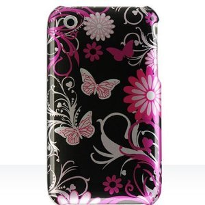 Cool Pink Butterfly Print Design Crystal Clip-on Hard Skin Case Cover for Apple iPhone 3G / Apple iPhone 3GS