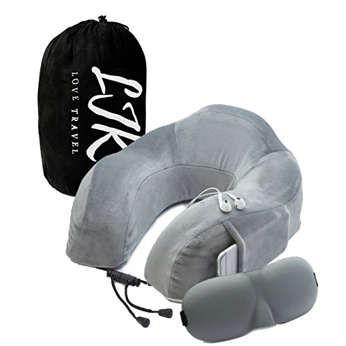 Luxury Travel Neck Pillow Cushion - With Memory Foam for Car, Airplane,...