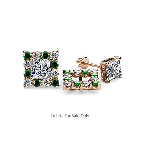 Emerald and Diamond (SI2-I1, G-H) Halo Jacket for Princess Cut Stud Earrings 0.71 ct tw 14K Rose Gold