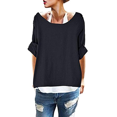 BODOAO Women Casual Long Sleeve Two Pieces Tank Loose T Shirt Blouse Tee Top
