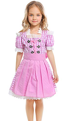 COSLAND Youth Girls' Pink Oktoberfest Costume Outfits