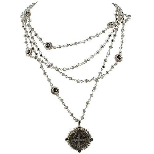 VSA - Virgins Saints and Angels Bicone San Benito Magdalena Necklace - Silver, Crystal Chrome