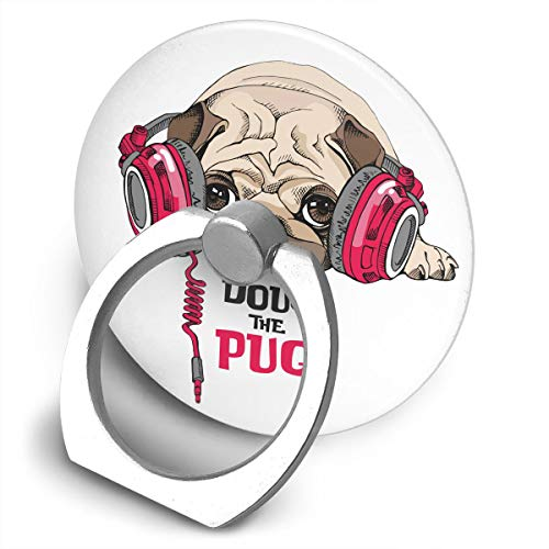 Happy Index Doug The Pug 360° Rotation Cell Phone Ring Holder Cellphone Finger Stand for iPhone, IPad, Samsung Galaxy S9/S8 and More Smartphones