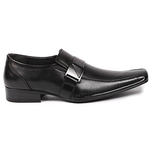 Image of Metrocharm Sam-01 Men's Buckle Strap Slip On Loafers Dress Classic Shoes