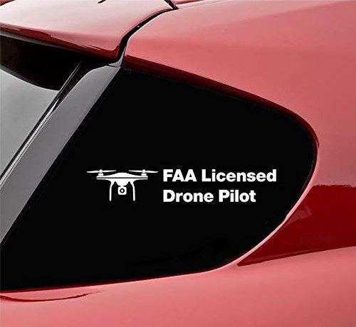 FAA Licensed Droneパイロットビニールデカールステッカー(ホワイト)   B0764KWBC4