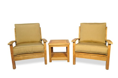 Teak Deep Seating - Teak Deep Seating Club Chair Conversation Set with End Table