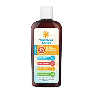 Tropical Sands All Natural SPF 30 Water Resistant Sunscreen, Reef Safe Zinc Oxide Sunscreen (Fragrance Free)