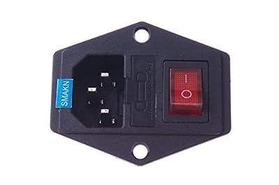 SMAKN® Inlet Module Plug Fuse Switch Male Power Socket 10A 250V 3 Pin IEC320 C14