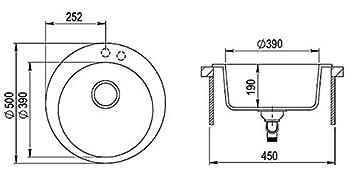 Beige LINDBERGH/® Granit Sp/üle RundTON 500 x 500 mm Einbausp/üle K/üchensp/üle Sp/ülbecken Verbundstoffe MADE IN GERMANY kompl Siphon