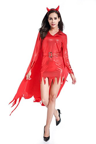 Simmia Halloween Costumes Devil Halloween Stage with Irregular Little Devil Witch Costume, 1831, XL -