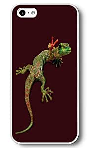 iPhone 5C Case, 5C Cases - Peace Out Gecko White Plastic Hard Bumper Case Cover for iPhone 5C