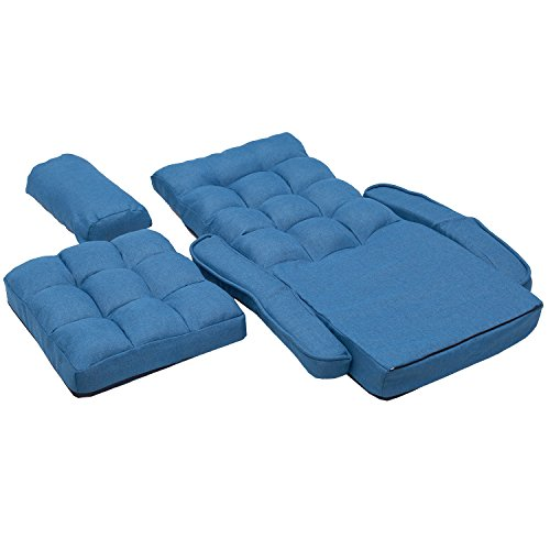 Merax Folding Lazy Sofa Floor Chair Sofa Lounger Bed with Armrests and a Pillow,Blue Home Garden ...