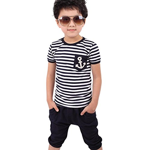 Vovotrade New Summer Children Clothing Boys Navy Striped T-Shirt and Pants Suits (6T, (Thin Striped Onesie)