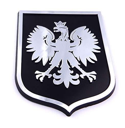 Poland Polska Eagle Black Chrome Plastic car Emblem Decal Sticker Crest PBC