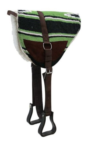 Showman Navajo LIME GREEN Bareback Saddle Pad with Kodel Fleece Bottom and Suede Wear Leathers with Stirrups