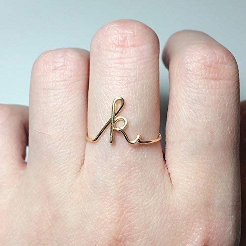 Personalized Name Ring Gold Name Ring Letter Ring Gold Initial Ring 14k Gold Custom Name Ring