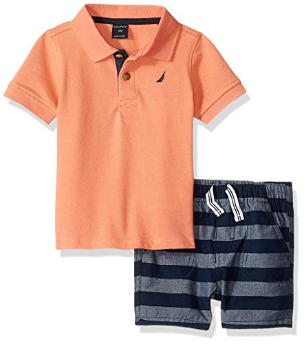 Nautica Sets (KHQ) Baby Boys 2 Pieces Polo Shorts Set, Salmon/Blue, 18M