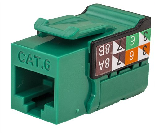 CAT6 RJ45 Keystone Jack, V-Max Series - Green Color - (50 pack)