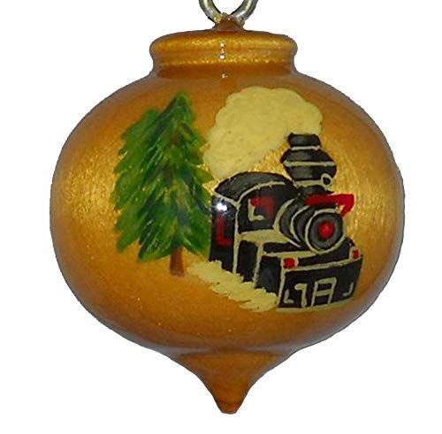 Hand Painted Steam Engine Christmas Ornament (Ornament Christmas Engine)