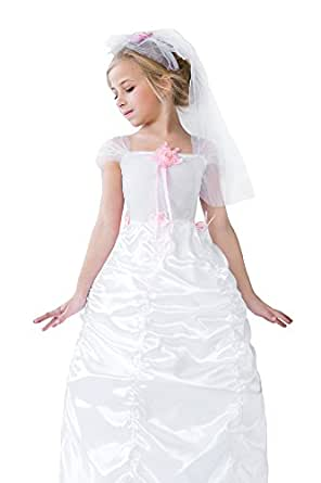 Kids Girls Charming Bride Halloween Costume Pretty Princess Dress Up & Role Play (8-11 years, white, pink)