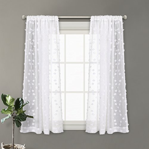 MYSKY HOME Rod Pocket Rhombus Pompon Design White Sheer Curtains, 54 x 63 Inch, 2 Curtain Panels Review