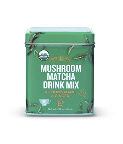 - Four Sigmatic Mushroom Matcha, USDA Organic, Ceremonial Grade Matcha Grean Tea Powder with Lions Mane Mushroom Powder & Ginger, Balanced Energy & Focus, Vegan, Paleo, 60g - 20 servings, 2.12 Ounce