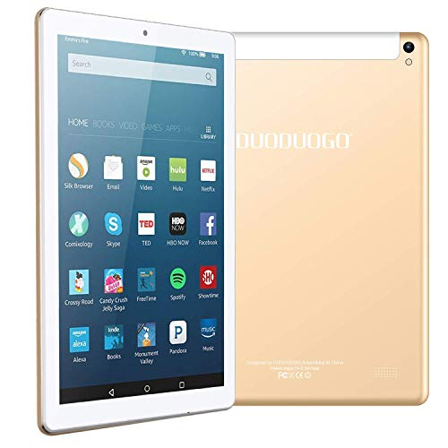 DUODUOGO 4G LTE 10.1 Inch Android Tablet PC Android 7.0, OTG, 2GB RAM, Hard Disk 32GB 8500mAh Battery - IPS Screen HD 1280 800 Pixel WiFi Tablets Phablet (10'', Gold) (Best Phablet For Gaming)