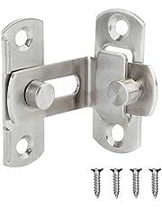 1Pc 90 Degree Door Latch Barns Doors Hasp Lock Stainless Steel Safety Door Lock, Brushed Finish