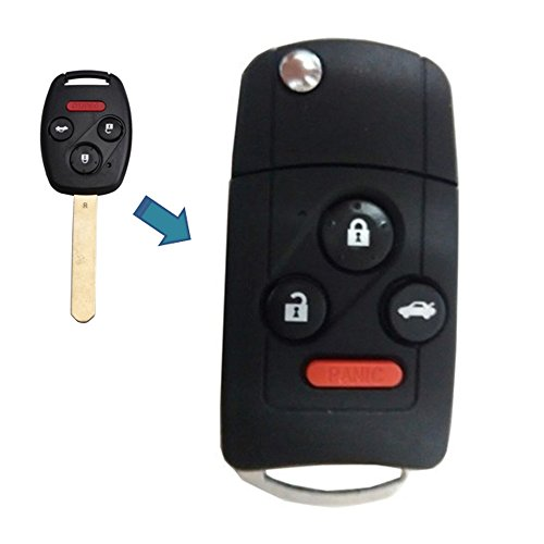 KEMANI Panic length:15mm New Uncut blank Remote Folding Flip Key Shell Case For Honda Accord Civic Pilot CR-V 4 buttons With Button Pad