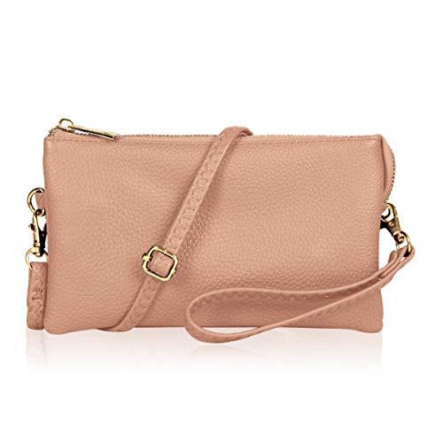 Convertible Vegan Leather Wallet Purse Clutch - Small Handbag Phone/Card Slots & Detachable Wristlet/Shoulder/Crossbody Strap (Pebbled - Blush) - Convertible Handbag Clutch