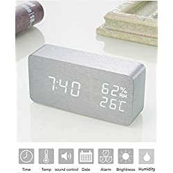 WillX Wooden Alarm Digital Clock(Time/Date/Temperature/Humidity) Sound Control,3 Adjustable Brightness,3 alarm setting,USB/4AAA Battery Powered for room (Gray)