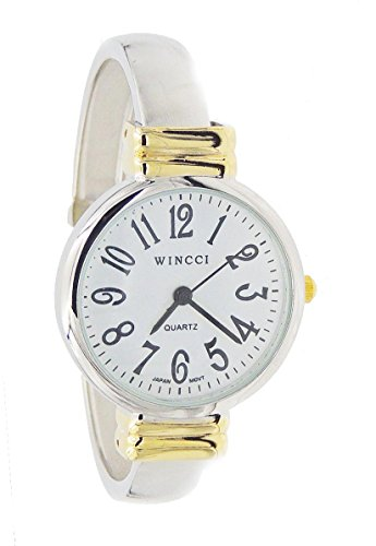 (Women's Classic Two Tone Easy Read Bangle cuff Watch)