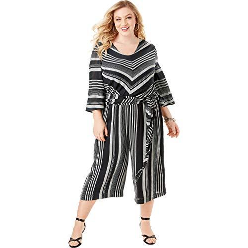 - Roamans Women's Plus Size Crinkle Culotte Jumpsuit with Tie Belt - Black White Stripe, 18 W