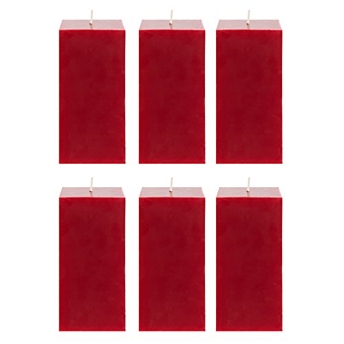 Mega Candles 6 pcs Unscented Red Square Pillar Candle | Hand