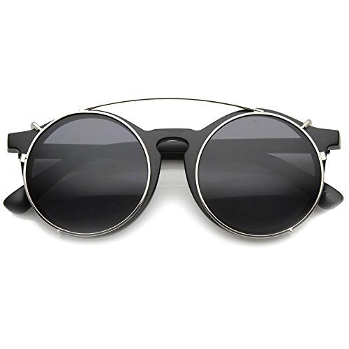 zeroUV - Vintage Inspired P-3 Horn Rimmed Crossbar Clip-On Round Sunglasses 52mm (Matte Black-Silver / Smoke)