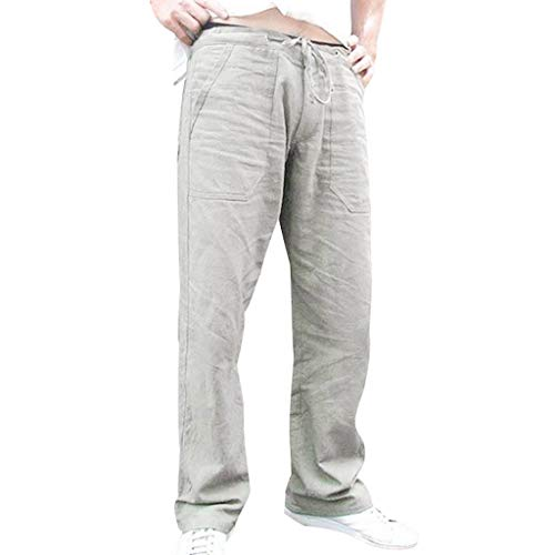 Pants for Men Linen Long Trouser Casual Expandable-Waist Outdoor Straight Leg Pants with Pockets Gray