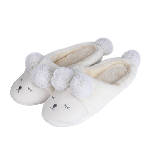 Donne Del Mondo Delle Donne Cute Cartoon Scarpe Invernali Calde Pantofole Peluche (7-9, Bianco) Bianco