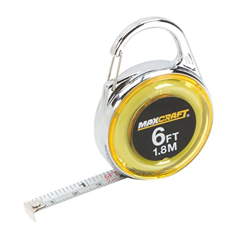 Maxcraft 60404 6-Feet Mini Clip-On Tape - Measurement Tape Keychain