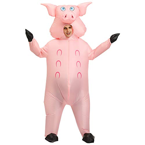 Trio Females Halloween Costumes You (Hacosoon Inflatable Alien/Unicorn/Flamingo/Pink-Pig/Shark Costume/Halloween Costume/Inflatable Party)