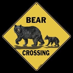 Bear and Cub Crossing Sign (Sign Crossing Bear)