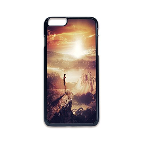 Phone Case Compatible with iPhone6 Plus iPhone6s Plus 2D Print Black Edge,Adventure,Traveler Woman with Backpack on Mountain Surveying Sunset Adventure Photo Print,Multicolor,Hard Plastic Phone Case ()